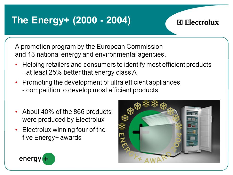 The Energy+ (2000 - 2004) A promotion program by the European Commission and 13 national energy and environmental agencies.