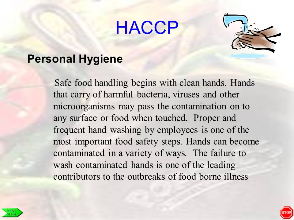 HACCP Personal Hygiene Safe food handling begins with clean hands. Hands that carry of harmful bacteria, viruses and other microorganisms may pass the