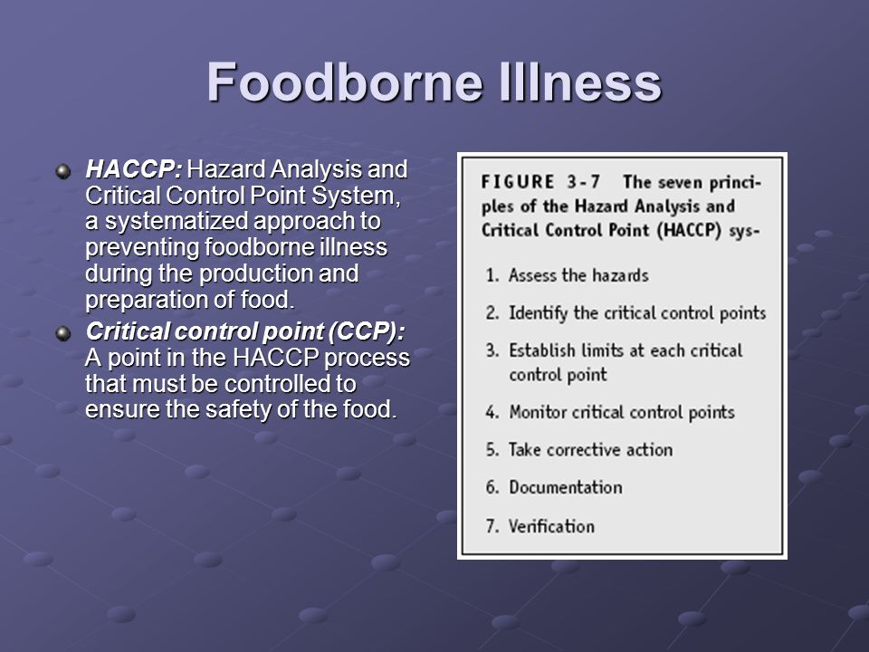 Foodborne Illness HACCP: Hazard Analysis and Critical Control Point System, a systematized approach to preventing foodborne illness during the production and preparation of food.