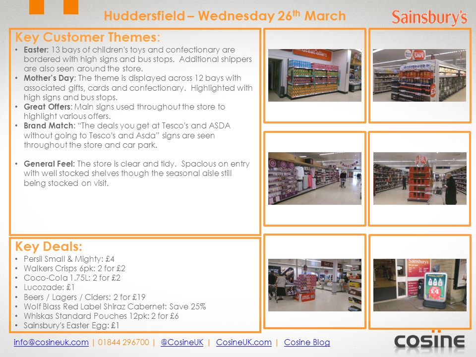 Key Customer Themes : Easter: 13 bays of children s toys and confectionary are bordered with high signs and bus stops.