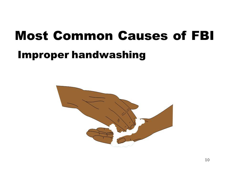 10 Most Common Causes of FBI Improper handwashing
