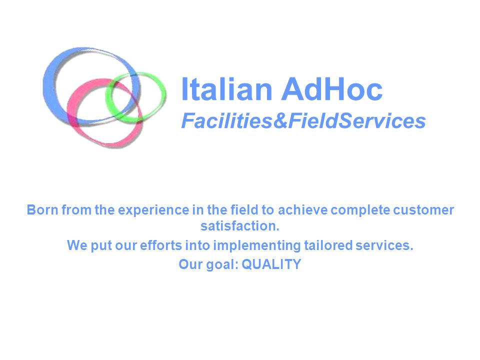 Italian AdHoc is a field service company enabling Market Research Institutes and Companies to enjoy comfortable rooms designed and furnished in order to meet different needs; Our meeting rooms and the adjoining backrooms can be used for: Focus Group, Face to Face interviews, briefings, audio and video conferencing, negotiations, training and refresher courses; Each room is equipped with air conditioning, external telephone line and WiFi connection.