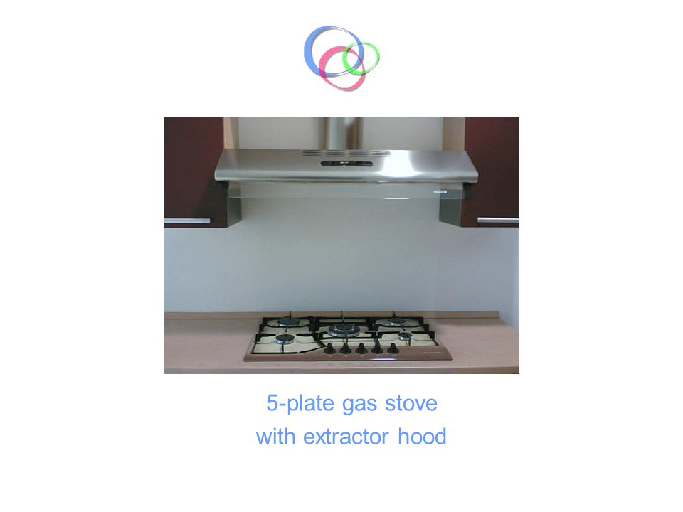5-plate gas stove with extractor hood