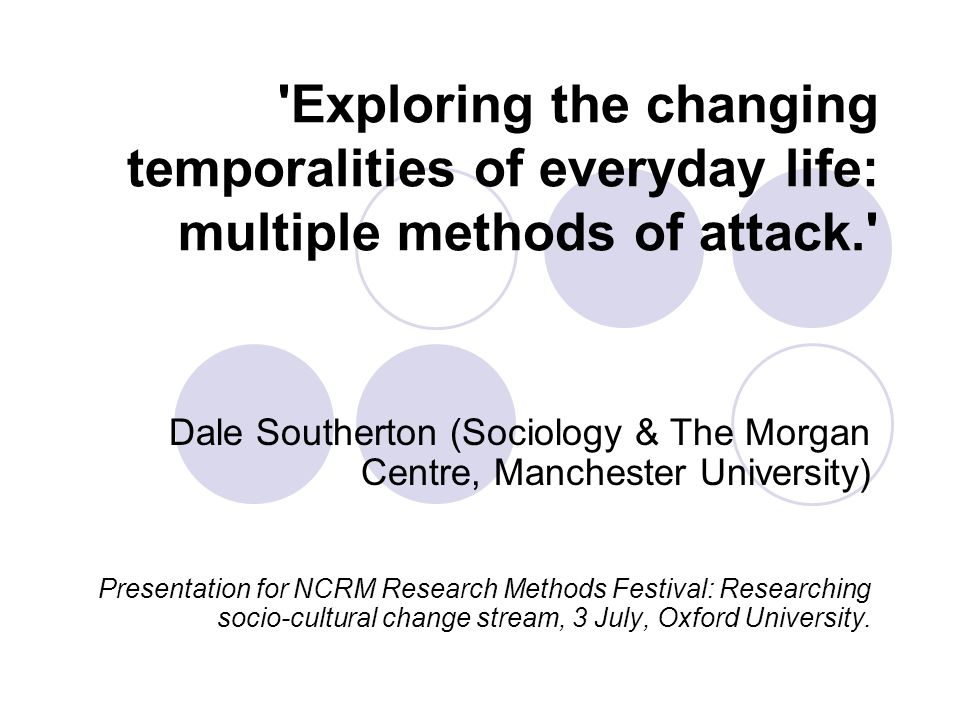 'Exploring the changing temporalities of everyday life: multiple methods of attack.' Dale Southerton (Sociology & The Morgan Centre, Manchester Univer
