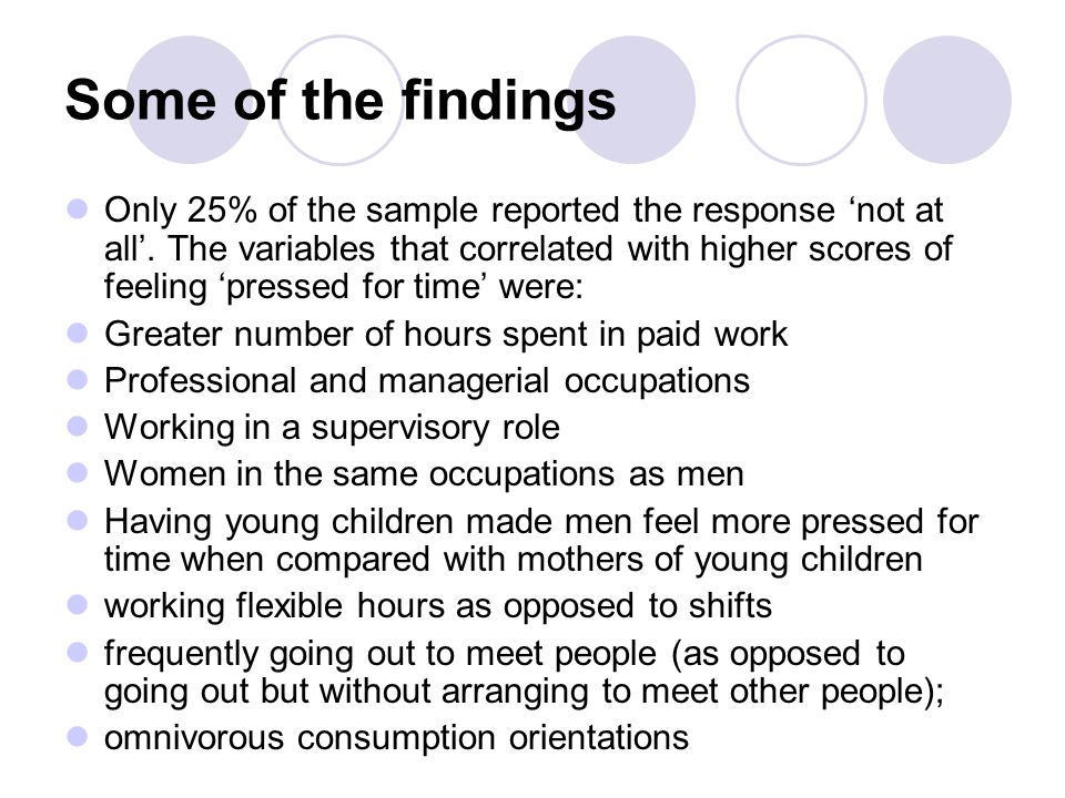 Some of the findings Only 25% of the sample reported the response 'not at all'. The variables that correlated with higher scores of feeling 'pressed f