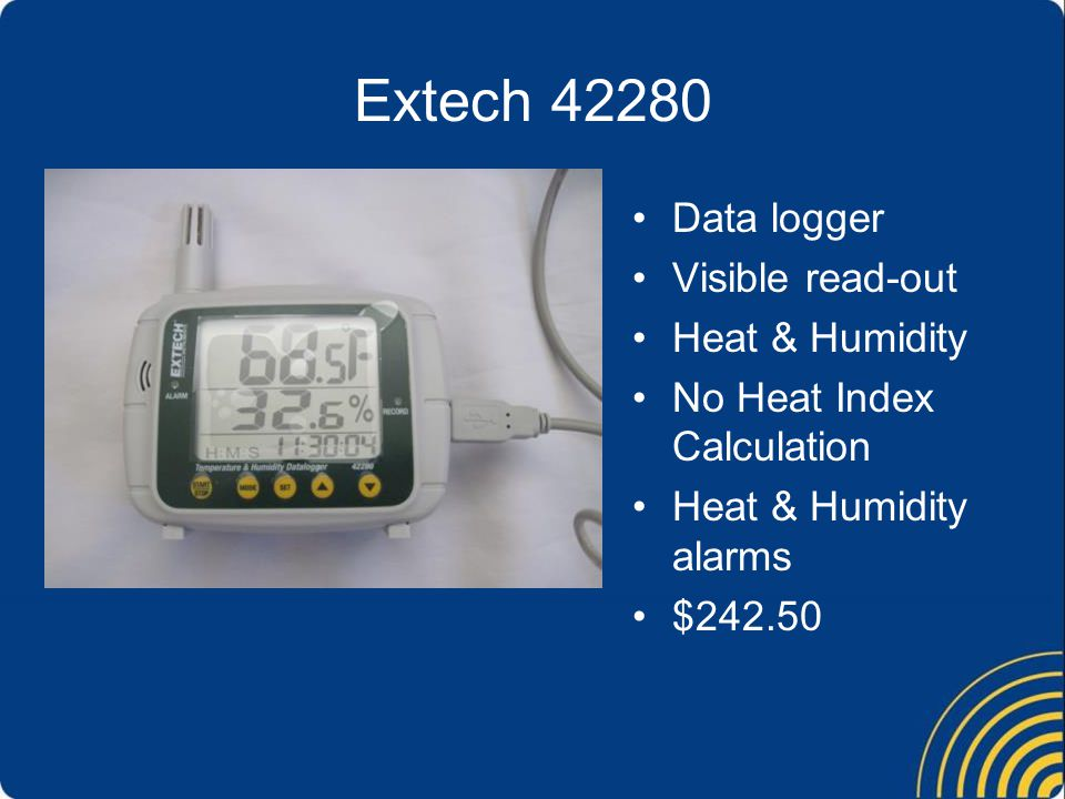 Extech 42280 Data logger Visible read-out Heat & Humidity No Heat Index Calculation Heat & Humidity alarms $242.50