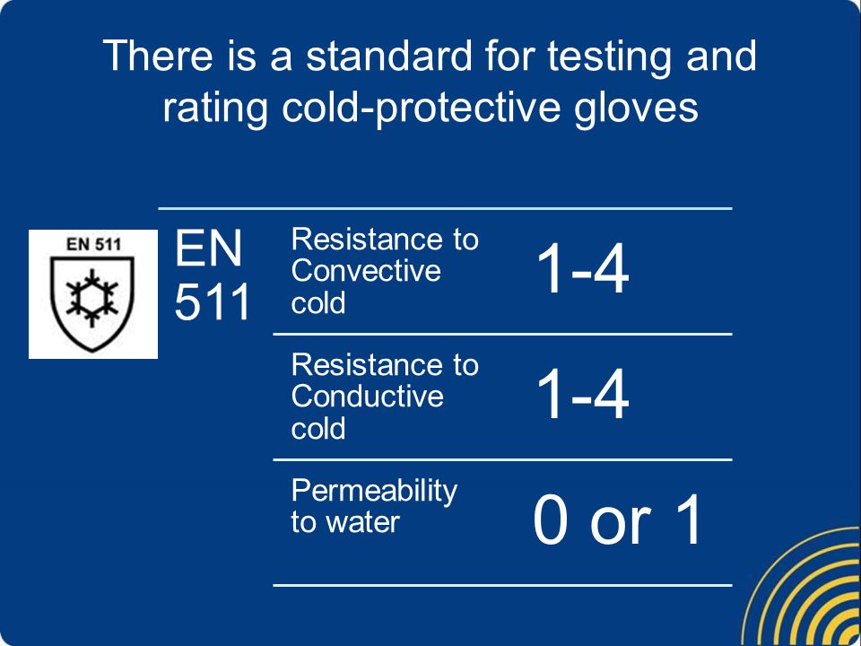 There is a standard for testing and rating cold-protective gloves EN 511 Resistance to Convective cold 1-4 Resistance to Conductive cold 1-4 Permeability to water 0 or 1