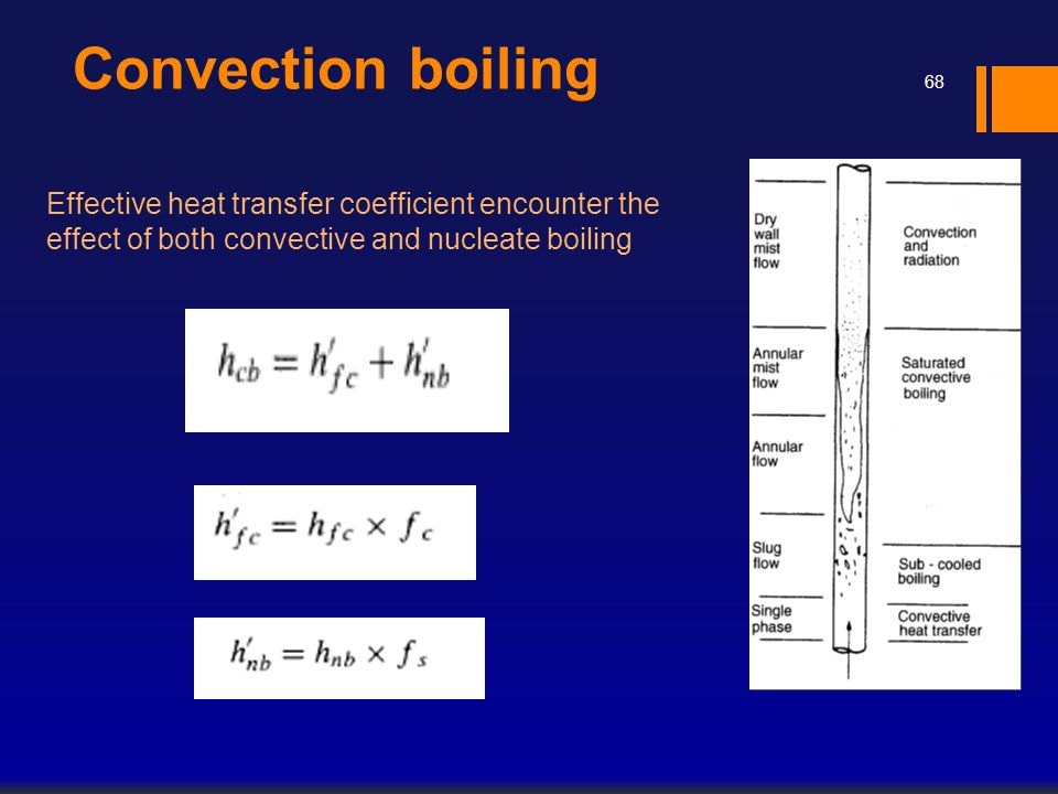 Convection boiling 68 Effective heat transfer coefficient encounter the effect of both convective and nucleate boiling
