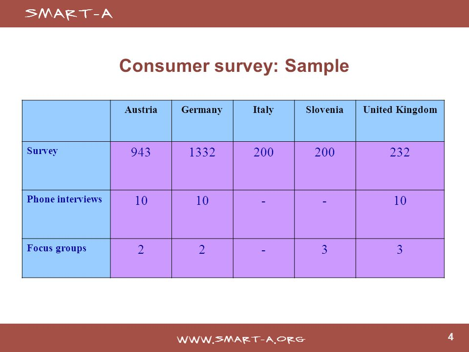 4 Consumer survey: Sample AustriaGermanyItalySloveniaUnited Kingdom Survey 9431332200 232 Phone interviews 10 -- Focus groups 22-33