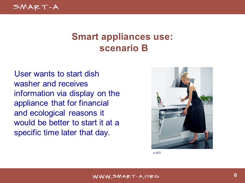 6 Smart appliances use: scenario B User wants to start dish washer and receives information via display on the appliance that for financial and ecological reasons it would be better to start it at a specific time later that day.