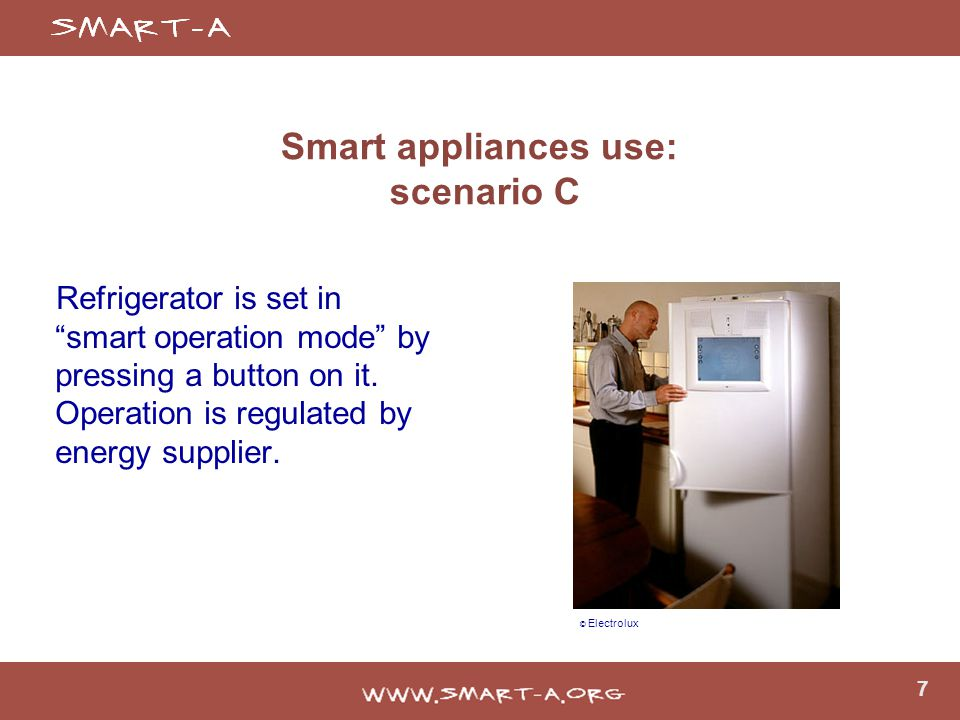 7 Smart appliances use: scenario C Refrigerator is set in smart operation mode by pressing a button on it.