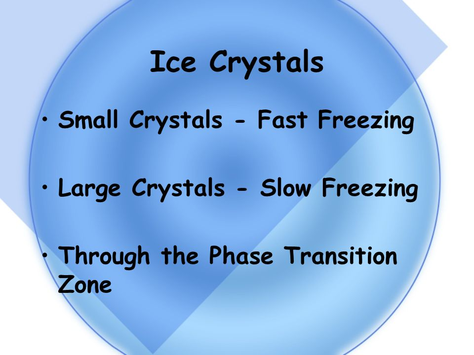 Ice Crystals Small Crystals - Fast Freezing Large Crystals - Slow Freezing Through the Phase Transition Zone