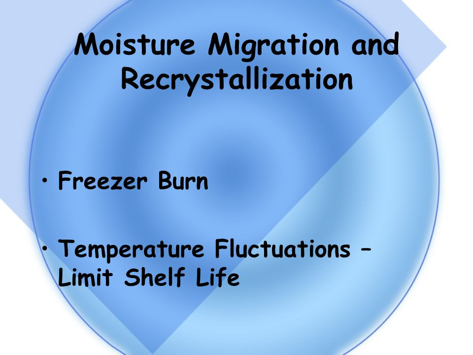 Moisture Migration and Recrystallization Freezer Burn Temperature Fluctuations – Limit Shelf Life