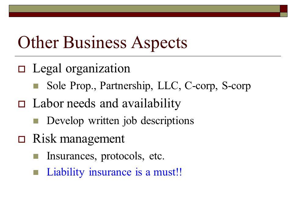 Other Business Aspects  Legal organization Sole Prop., Partnership, LLC, C-corp, S-corp  Labor needs and availability Develop written job descriptions  Risk management Insurances, protocols, etc.