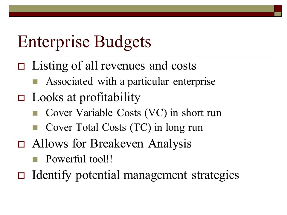Pumpkin Enterprise Budget  Look at the information Revenues Variable Costs Fixed Costs Analysis  Return Above VC  Return Above TC  Breakeven Price and Yield