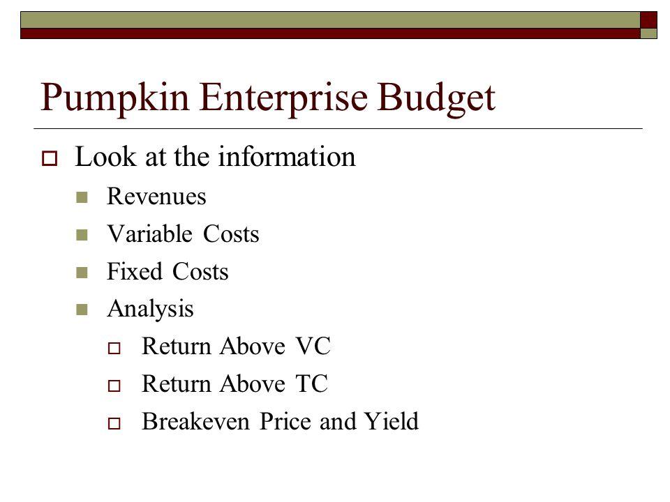 Using an Enterprise Budget  Should you grow pumpkins this year.
