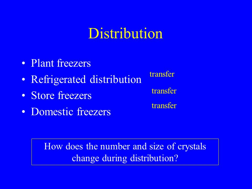Distribution Plant freezers Refrigerated distribution Store freezers Domestic freezers transfer How does the number and size of crystals change during
