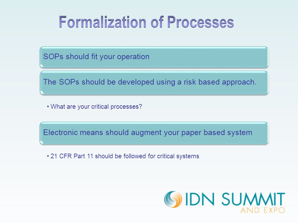 SOPs should fit your operation The SOPs should be developed using a risk based approach. What are your critical processes? Electronic means should aug