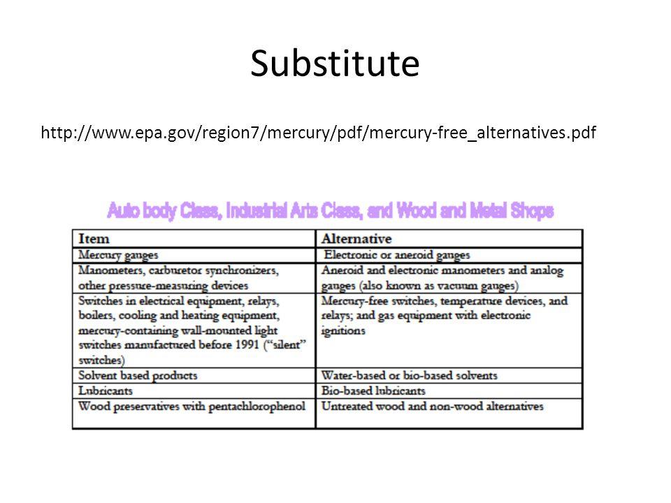 Substitute http://www.epa.gov/region7/mercury/pdf/mercury-free_alternatives.pdf