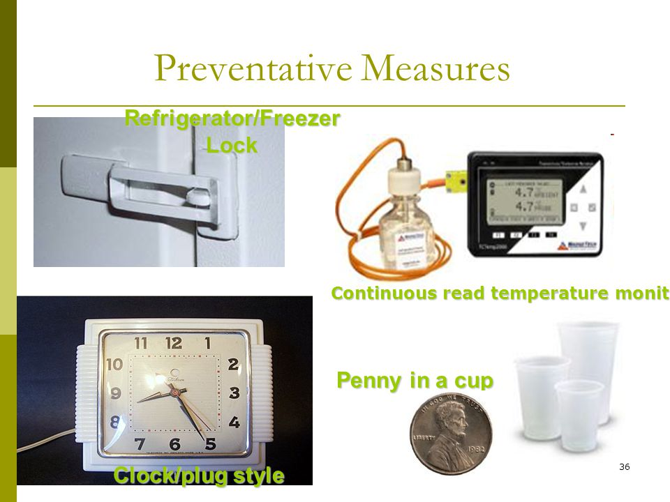 36 Preventative Measures Refrigerator/Freezer Lock Clock/plug style Penny in a cup Continuous read temperature monitor
