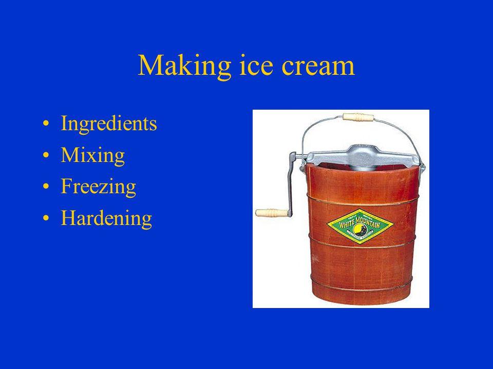 Making ice cream Ingredients Mixing Freezing Hardening