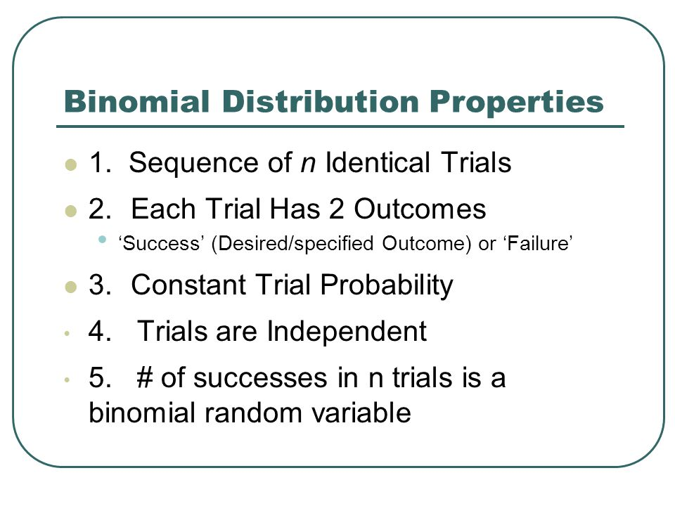 Binomial Distribution Properties 1.
