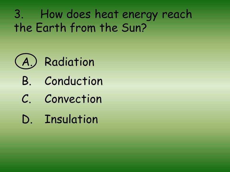 3.How does heat energy reach the Earth from the Sun.