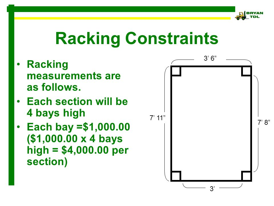 Racking Constraints Racking measurements are as follows. Each section will be 4 bays high Each bay =$1,000.00 ($1,000.00 x 4 bays high = $4,000.00 per
