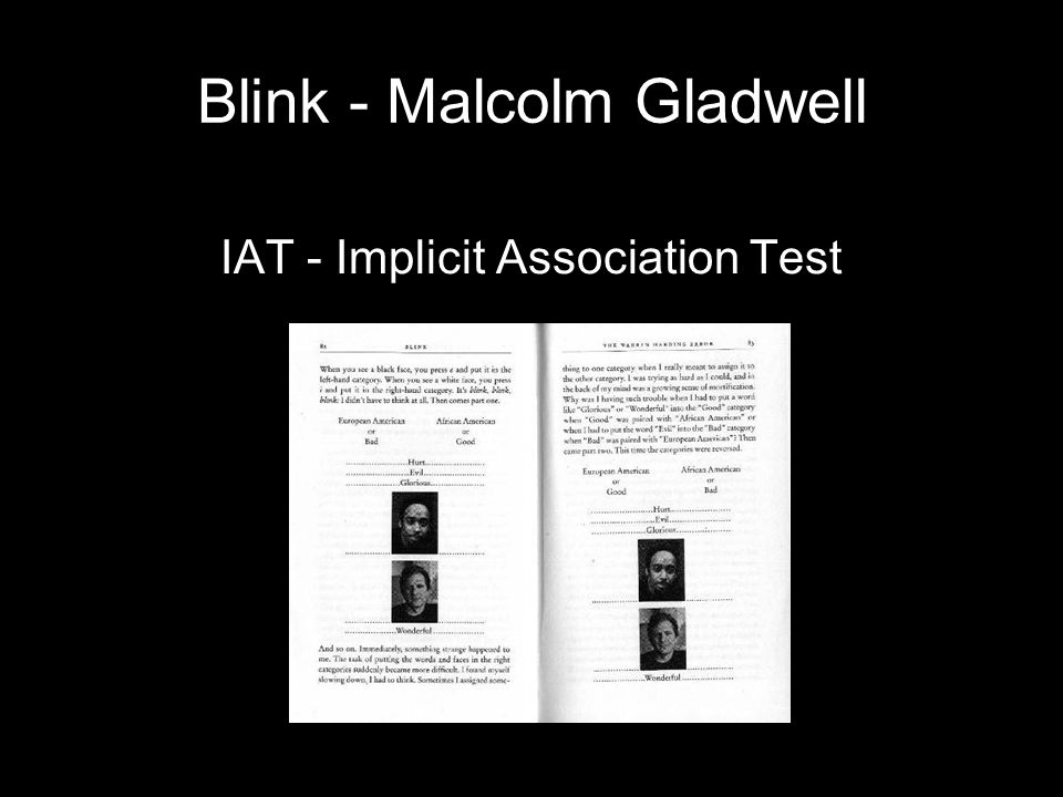 Blink - Malcolm Gladwell IAT - Implicit Association Test