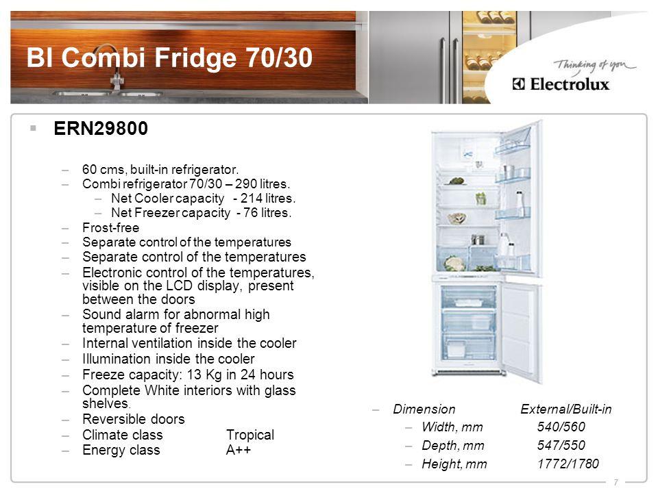 7 BI Combi Fridge 70/30  ERN29800 –60 cms, built-in refrigerator.
