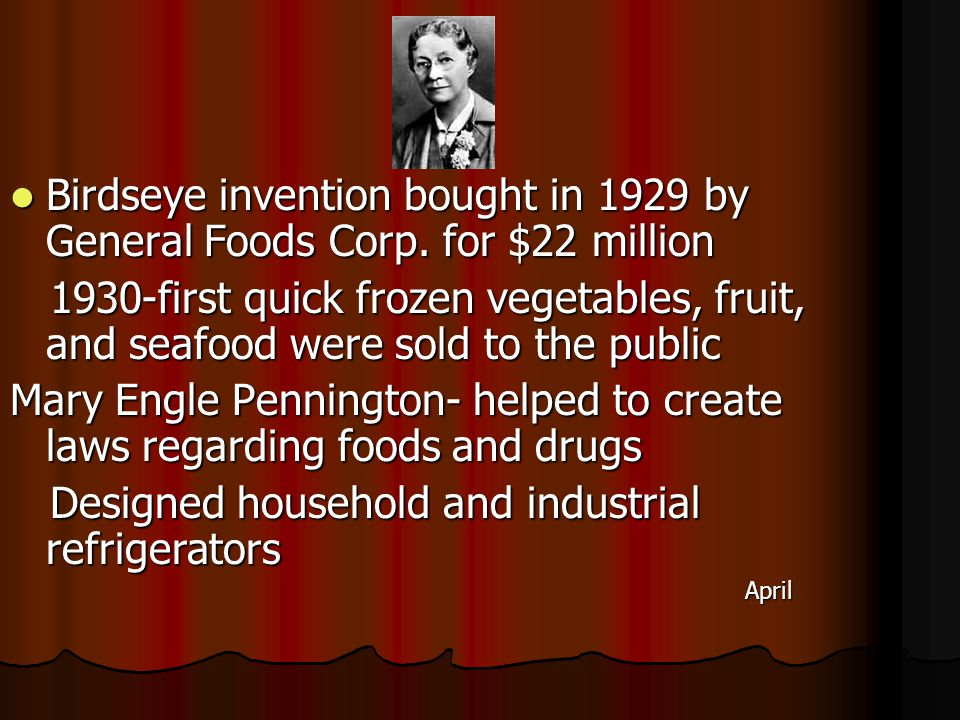 Birdseye invention bought in 1929 by General Foods Corp.