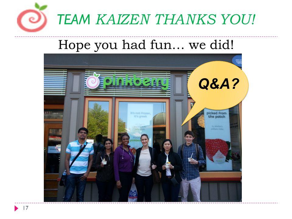 Hope you had fun… we did! 17 TEAM KAIZEN THANKS YOU! Q&A?