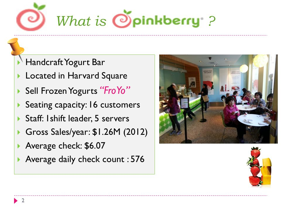 """What is ? 2  Handcraft Yogurt Bar  Located in Harvard Square  Sell Frozen Yogurts """"FroYo""""  Seating capacity: 16 customers  Staff: 1shift leader,"""