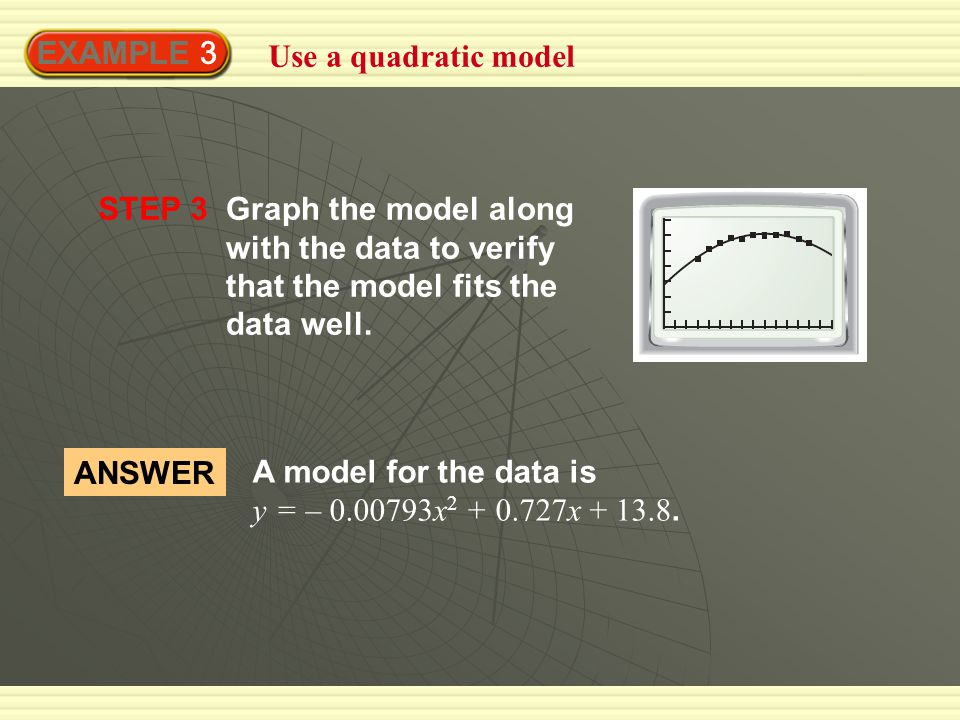 EXAMPLE 3 Use a quadratic model STEP 3Graph the model along with the data to verify that the model fits the data well.