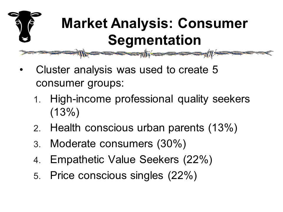 Market Analysis: Consumer Segmentation Cluster analysis was used to create 5 consumer groups: 1.