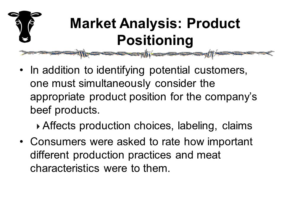 Market Analysis: Product Positioning In addition to identifying potential customers, one must simultaneously consider the appropriate product position