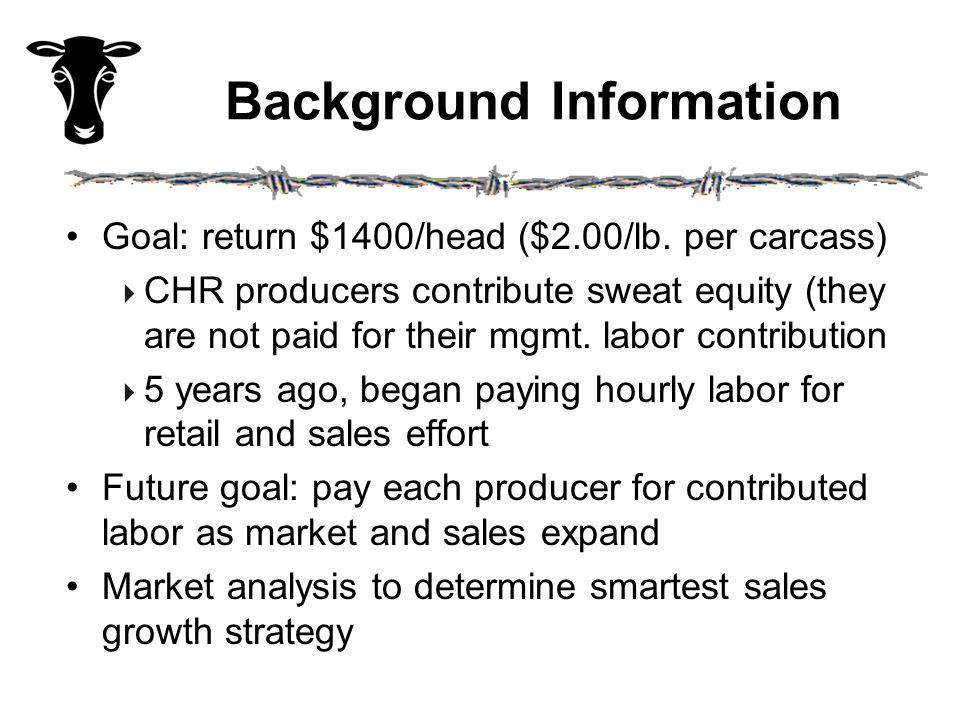 Background Information Goal: return $1400/head ($2.00/lb.