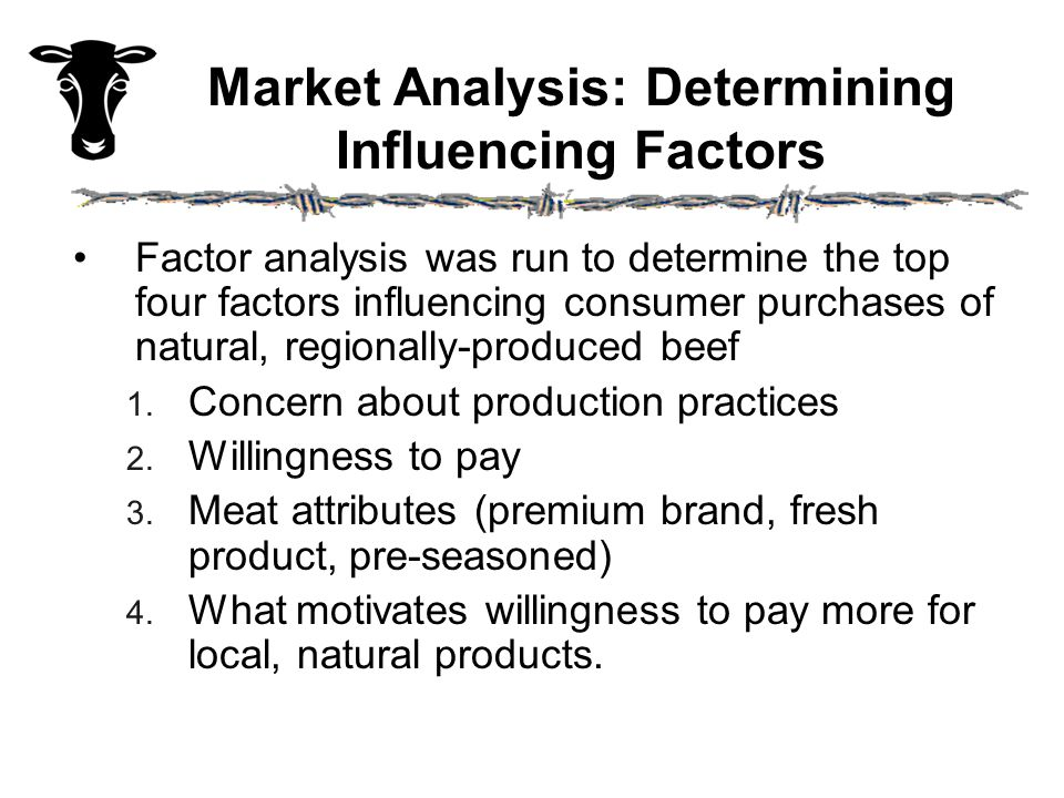Factor Analysis: A Summary One: 14%, Personal Needs Dominate  No public good interests except BSE, convenient shopping & low willingness to pay Two: 60%, Public-Minded, Civic Motivation  High loadings on all alternative production attributes,  Shopping at health food and farmers markets Three: 20%, High-End Market  Highest WTP, secondary shopping, natural purchases suggest low price sensitivity Four: 6%, Public Health Concerns  Uniquely concerned about health-related production attributes and testing, less WTP
