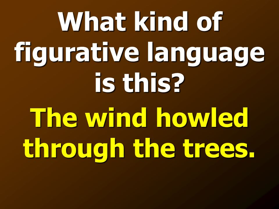 What kind of figurative language is this? The wind howled through the trees.