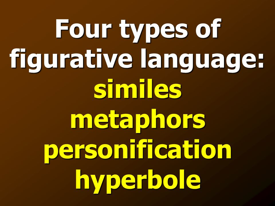 Four types of figurative language: similes metaphors personification hyperbole