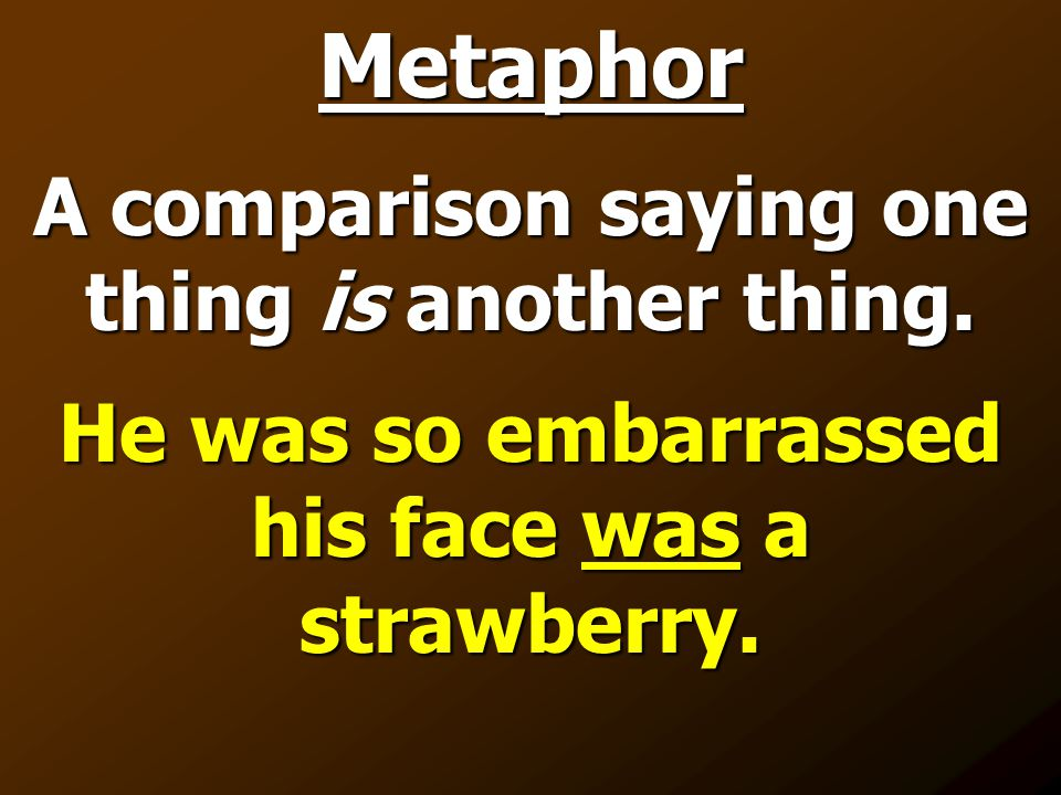 Metaphor The sentence compares two things by saying the test was a piece of cake.