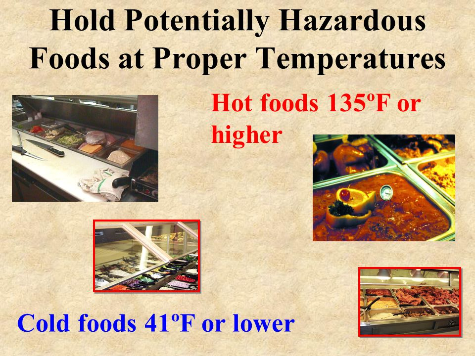 Cooking Temperatures Cook poultry, stuffed meats, and stuffed pasta to 165ºF Cook, ground beef and ground pork to 155ºF Cook eggs, fish, and pork prod