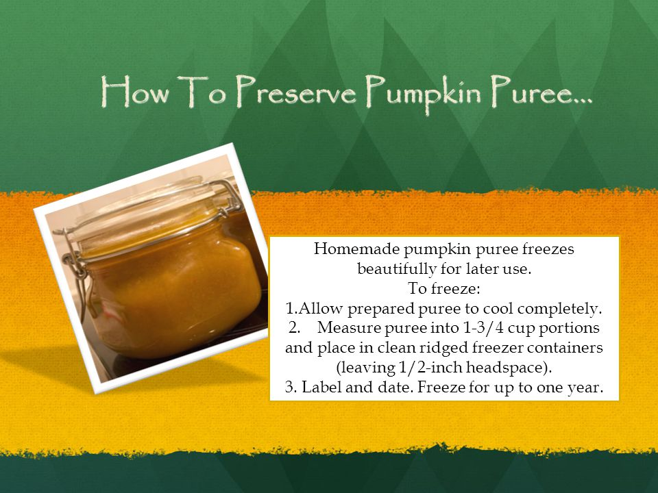 How To Preserve Pumpkin Puree... Homemade pumpkin puree freezes beautifully for later use.