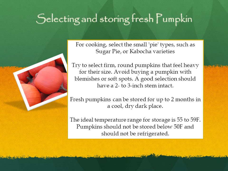Selecting and storing fresh Pumpkin For cooking, select the small pie types, such as Sugar Pie, or Kabocha varieties Try to select firm, round pumpkins that feel heavy for their size.