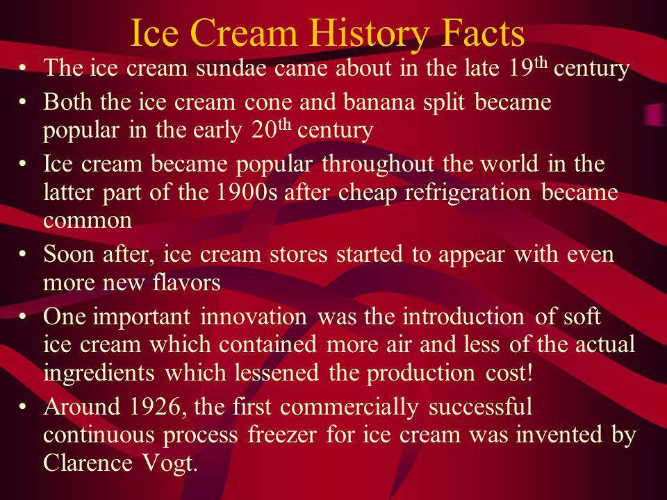 Ice Cream Ingredients Milk Sugar Cream Eggs Flavorings such as Vanilla Emulsifiers, Stabilizers(such as guar gum, carageenan, and gelatin) Air!