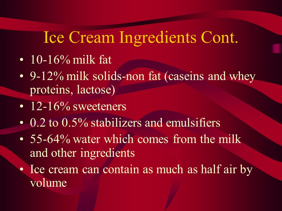 Ice Cream Facts Ice cream is a frozen foam meaning it's a gas dispersed in liquid The emulsifiers in ice cream prevent separation of the fat and liquid Stabilizers work to reduce the amount of free water in ice cream and prevent it from melting Emulsifiers, Stabilizers, and air are all very important components of ice cream