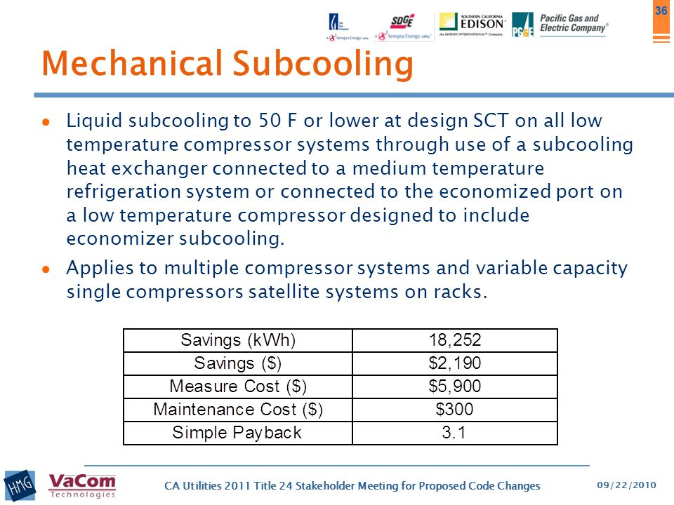 36 Mechanical Subcooling ● Liquid subcooling to 50 F or lower at design SCT on all low temperature compressor systems through use of a subcooling heat