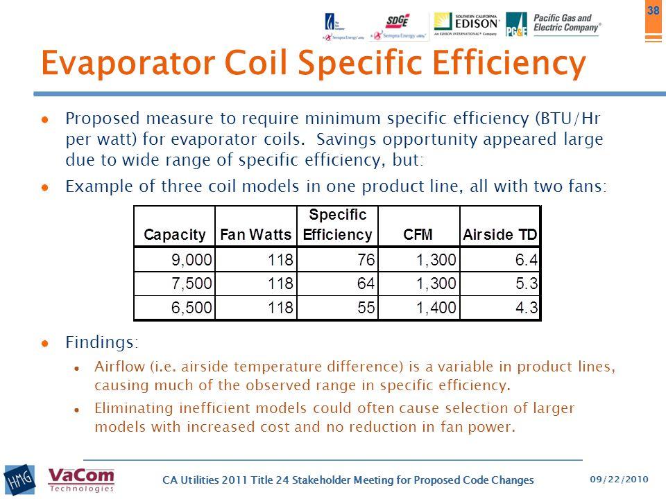 38 Evaporator Coil Specific Efficiency ● Proposed measure to require minimum specific efficiency (BTU/Hr per watt) for evaporator coils. Savings oppor