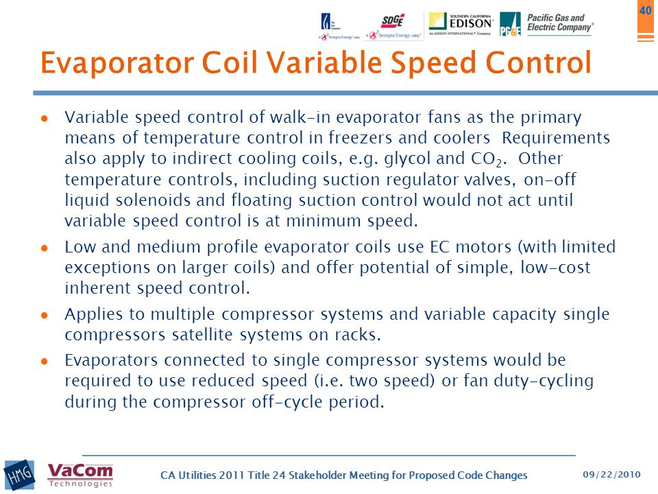 40 Evaporator Coil Variable Speed Control ● Variable speed control of walk-in evaporator fans as the primary means of temperature control in freezers
