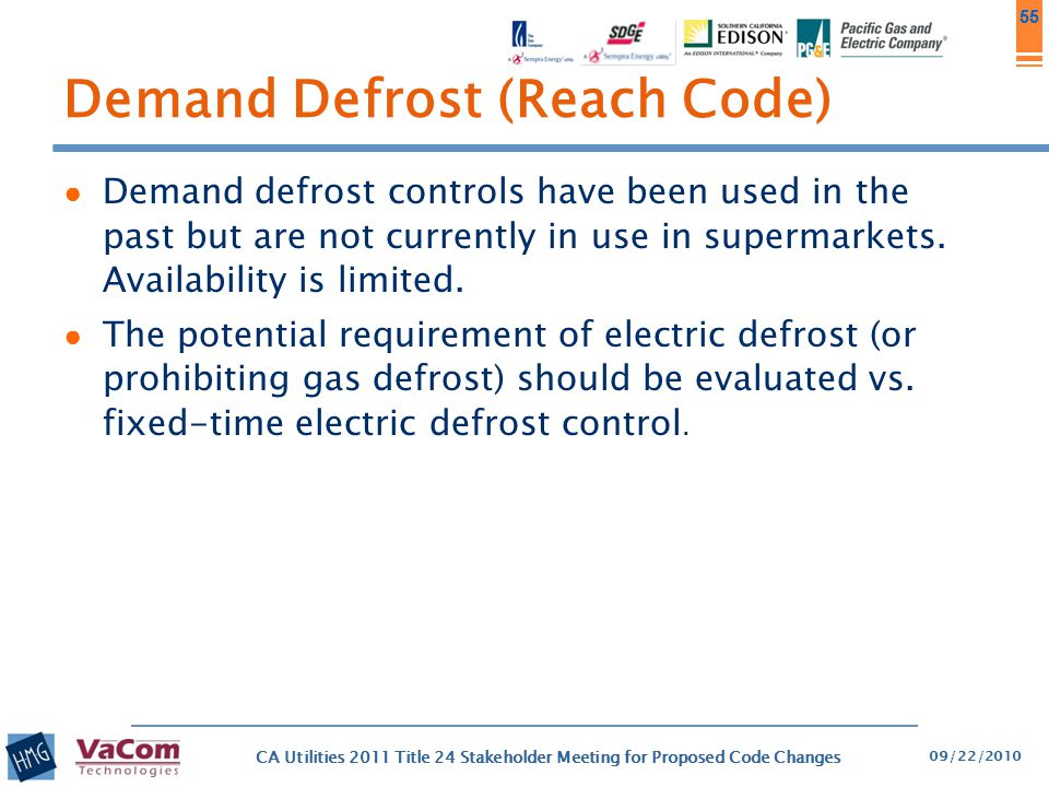 55 Demand Defrost (Reach Code) ● Demand defrost controls have been used in the past but are not currently in use in supermarkets. Availability is limi